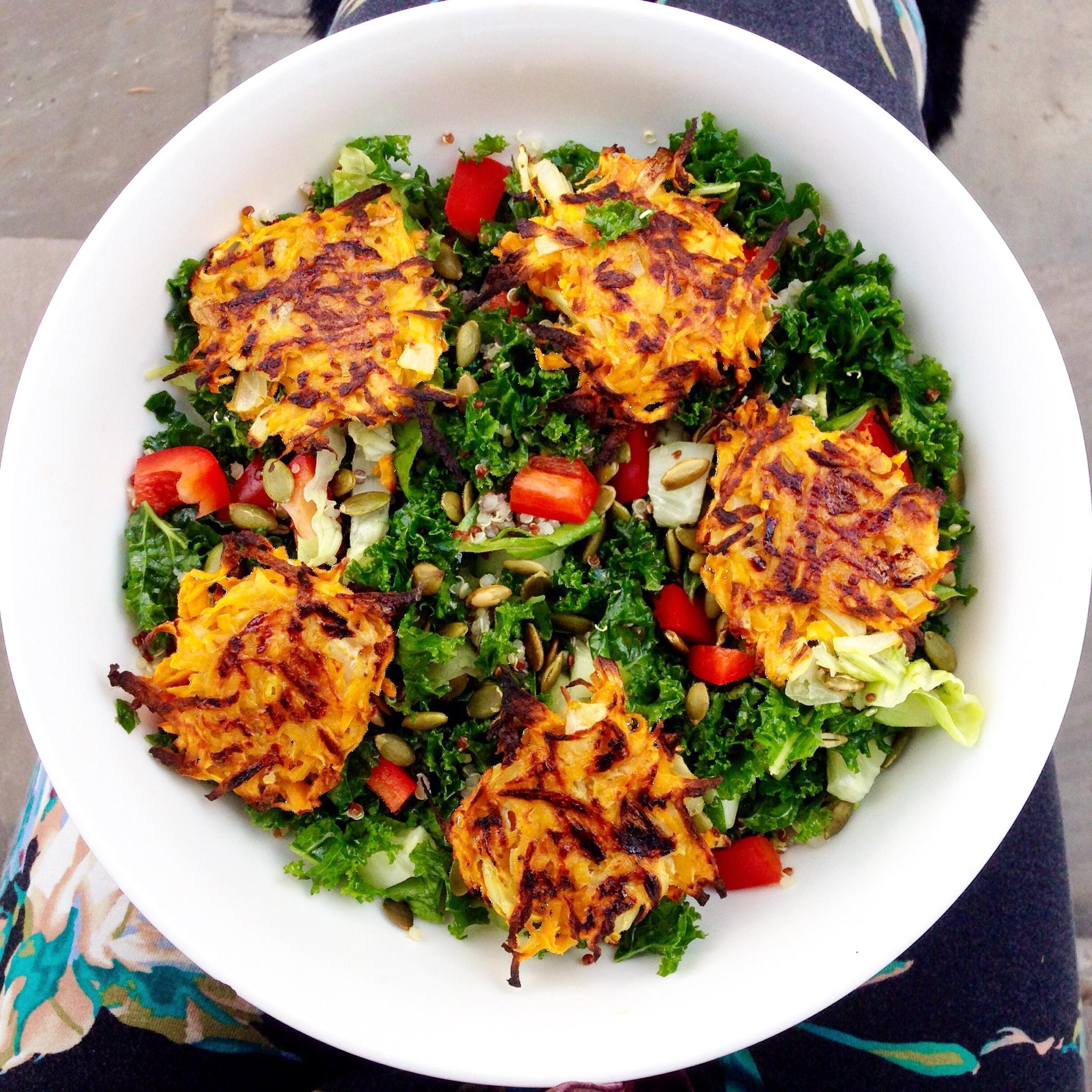 Kale Salad with Sweet Potato Hash Browns - Choosingchia