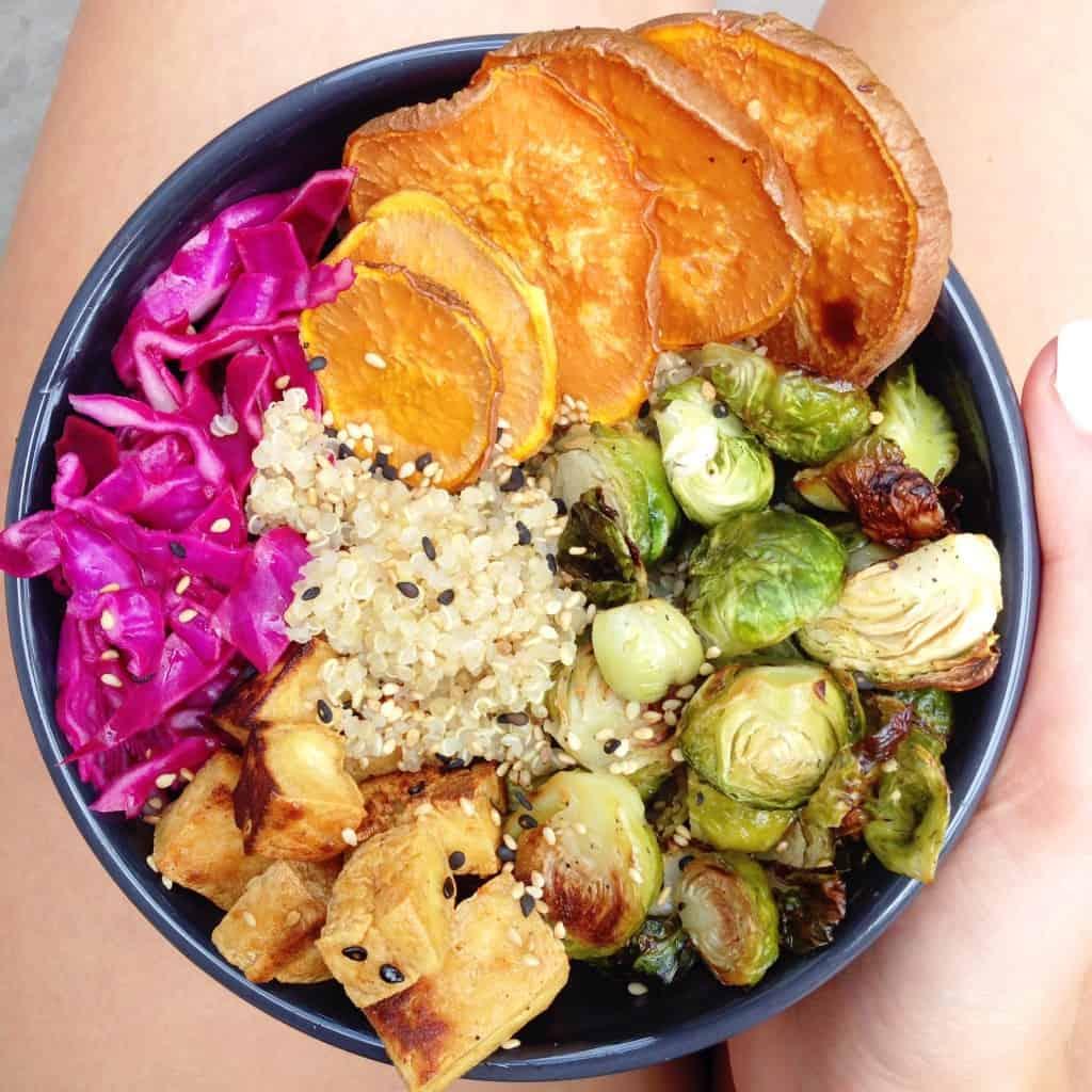 vegan buddha bowl with popcorn tofu
