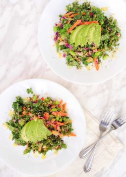 Asian kale salad with peanut dressing