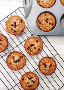 vegan chocolate chip muffins-healthy and gluten-free!
