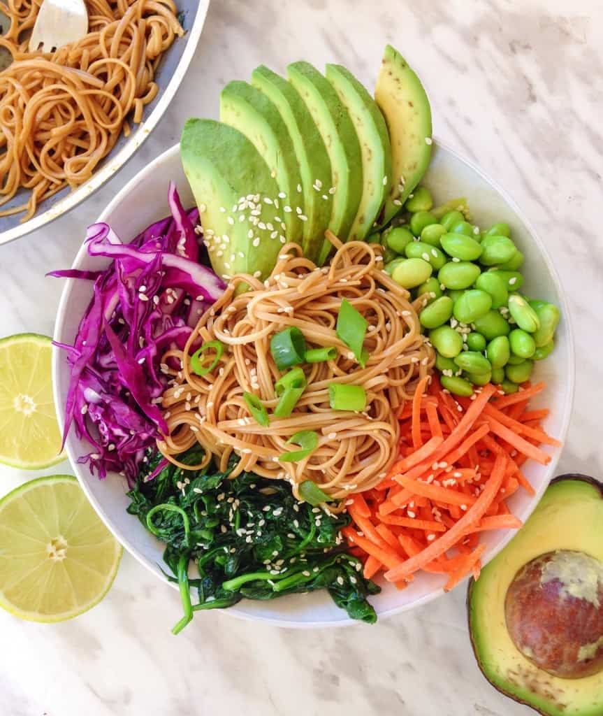 maple soy soba noodle stir-fry