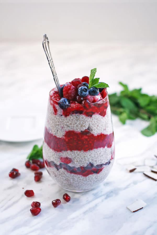 chia pudding with raspberry compote