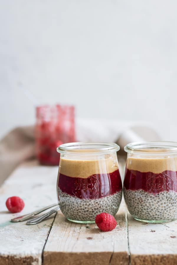 peanut butter and jelly chia parfait