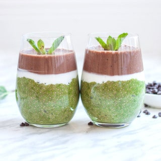 Matcha mint chocolate chia pudding