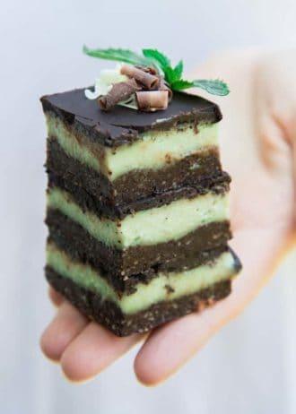 raw mint chocolate stack