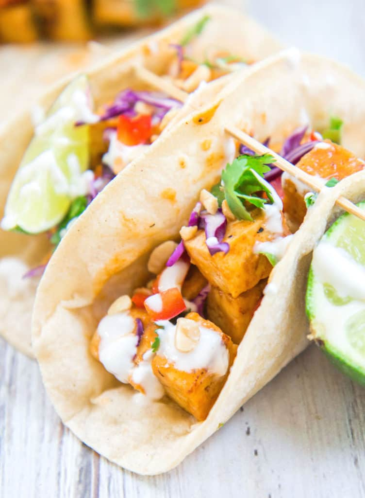 Thai red curry tofu tacos