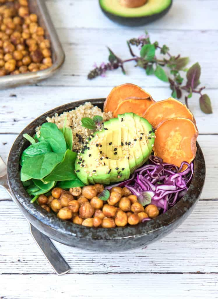 Nourishing Buddha bowl with maple roasted chickpeas