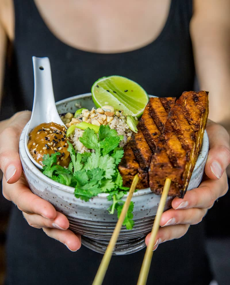 tofu satay with cauliflower fried rice