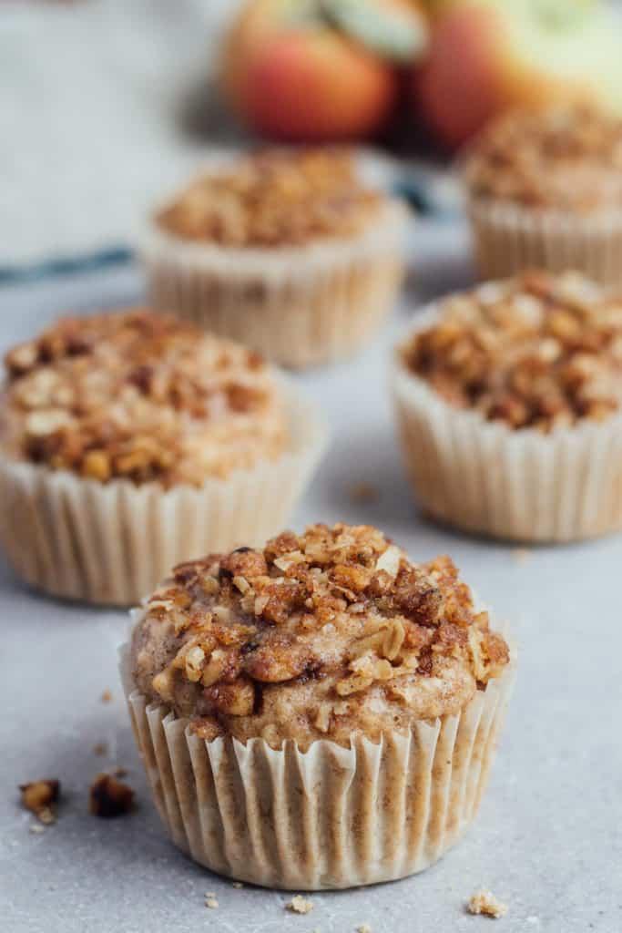 vegan apple crumb muffins