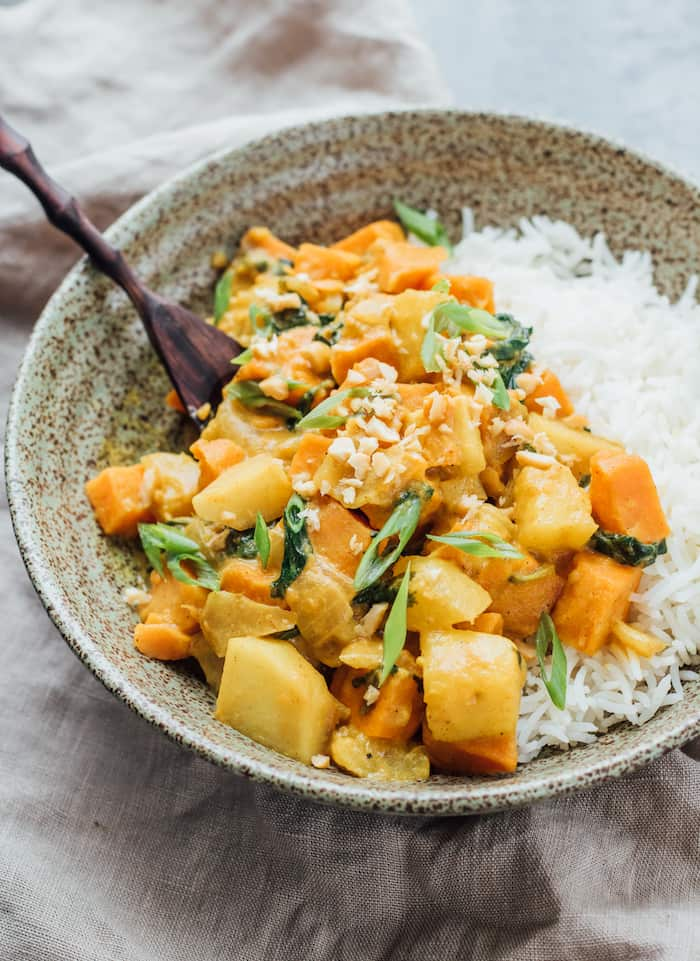 roasted sweet potato and pineapple curry