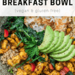 vegan breakfast bowl with avocado, potatoes and chickpeas in a bowl
