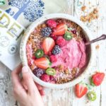 raspberry banana smoothie bowl with eden rawnola