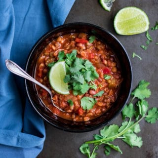 Sprouted lentil chipotle chili