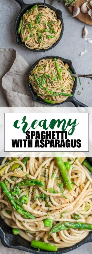 Choosingchia.com| This creamy spaghetti with leeks, peas, and asparagus is the perfect healthy and light pasta dish. It's also vegan and gluten-free!