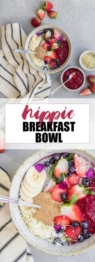Choosingchia.com- This hippie breakfast bowl is a healthy and nourishing breakfast loaded with chia, berry compote, and almond butter. Healthy and easy to make!