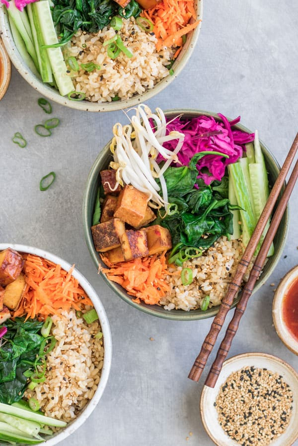 vegan bibimbap with sweet and sour sauce