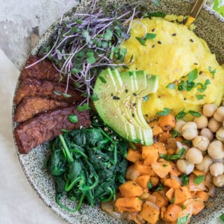 Nourishing vegan breakfast bowl with tempeh bacon