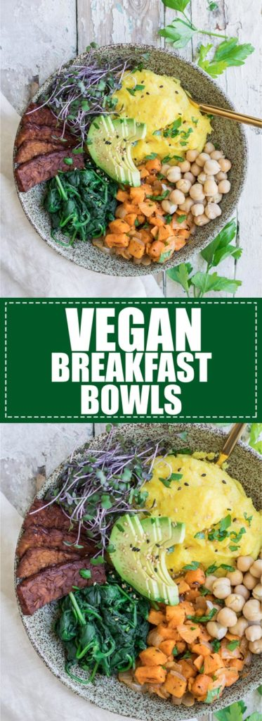 Choosingchia.com| This nourishing vegan breakfast bowl is loaded with tempeh bacon, polenta, and sweet potato hash. easy to make and delicious!