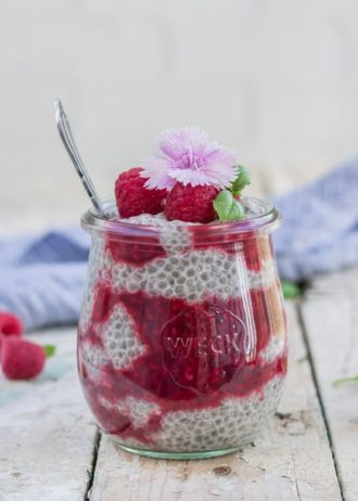 Chia pudding with quick raspberry basil compote