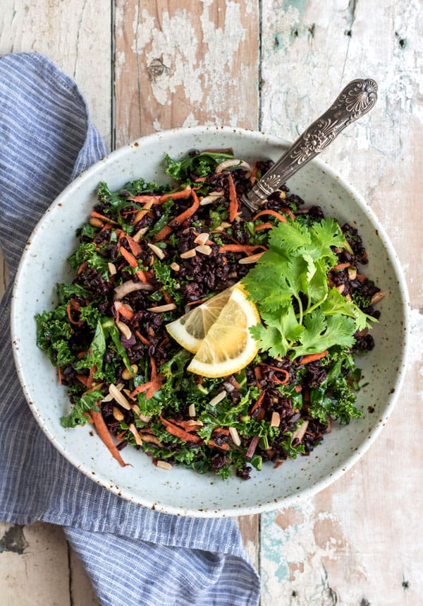 Forbidden rice salad with turmeric and kale