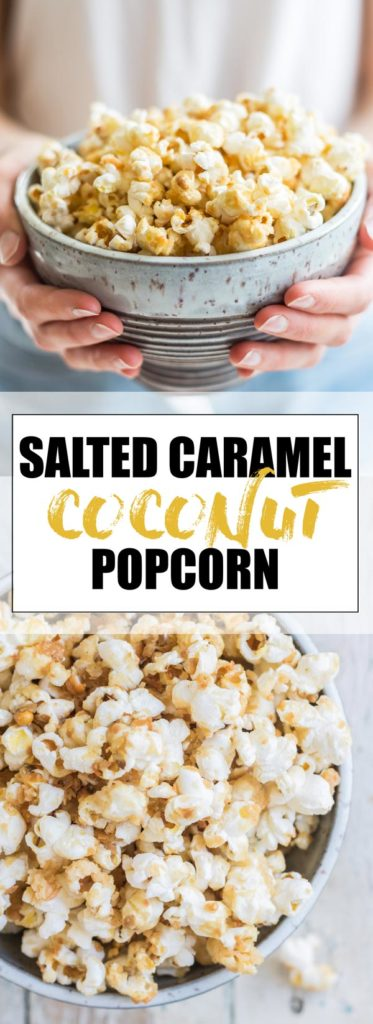 Choosingchia.com| This salted caramel coconut popcorn will become your new snacking addiction! Easy to make, and made with all natural healthy ingredients! (Vegan+Gluten-free)