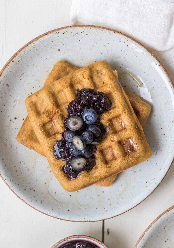 Cornbread waffles with blueberry compote