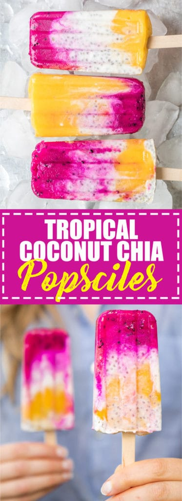 Choosingchia.com  These tropical coconut chia pops are busting with tropical flavour! They're also vegan, gluten-free, and made with all natural ingredients!