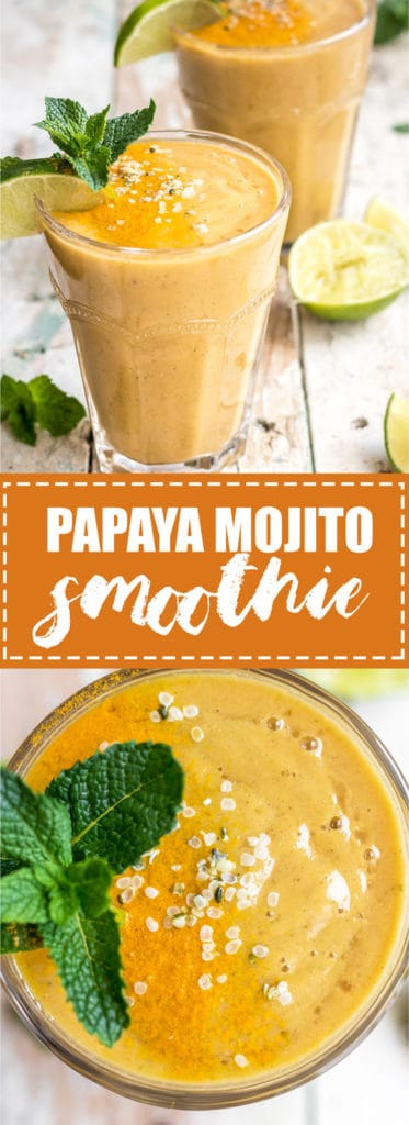 choosingchia.com| This papaya mojito is a refreshing, easy to make, and takes less than 5 minutes to whip up! It'll quickly become a your new favourite smoothie!