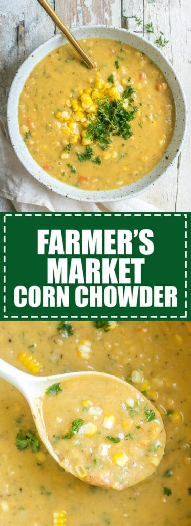Choosingchia.com| This farmer's market corn chowder is loaded with fresh veggies from the market! I love this healthy soup!