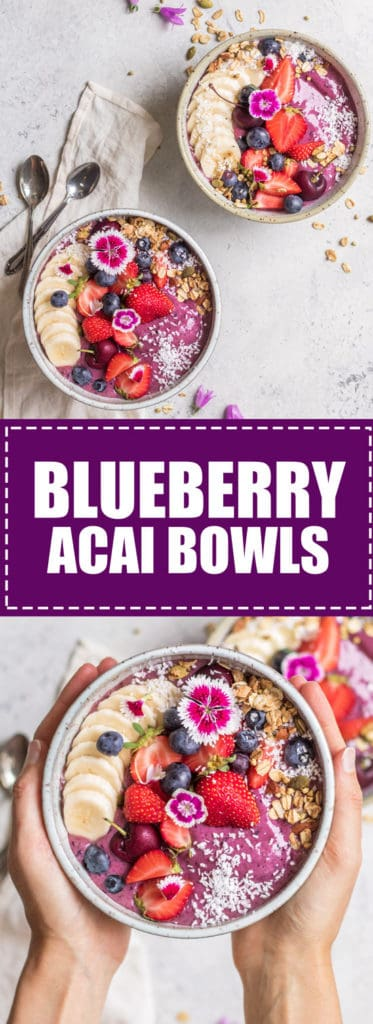 Choosingchia.com| These blueberry acai bowls only use 6 ingredients and make a quick and healthy breakfast! Learn to make your own acai bowls at home!