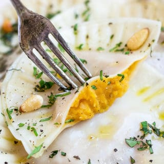 Butternut squash ravioli with garlic infused olive oil