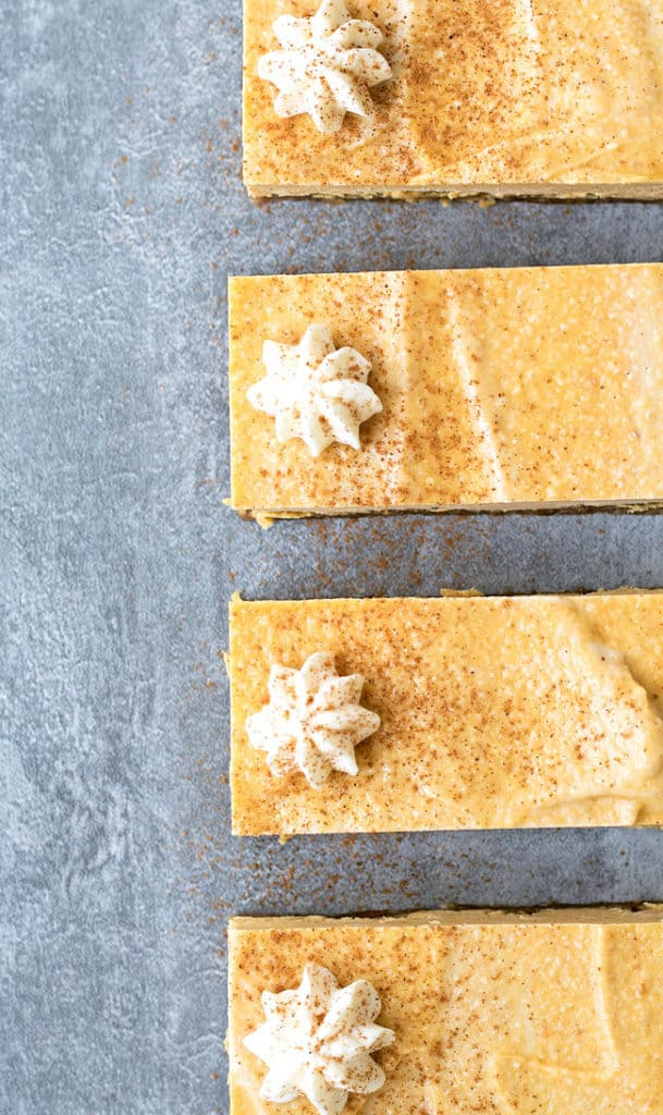 vegan pumpkin spice cheesecake bars| dessert| fall recipe| no-bake recipe