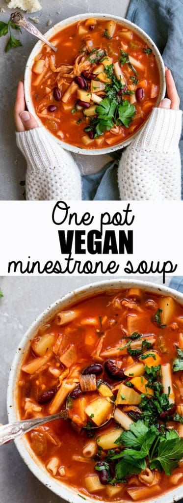 Choosingchia.com-Cozy up with a bowl of this one pot vegan minestrone soup! It takes less than 30 minutes to make and is loaded with hearty good for you ingredients!
