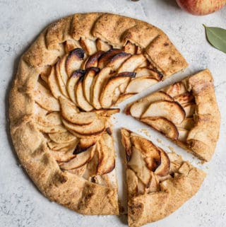 This salted caramel apple galette is a healthy low-sugar vegan option for a Fall dessert! Made with apples, and dates, you'll be sure to love this galette!