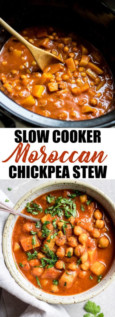 This crockpot Morrocan chickpea stew is a healthy vegan recipe that is warming, delicious, and easy to make!