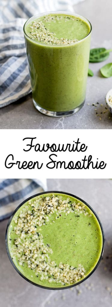 This is my favorite green smoothie recipe! It's healthy, easy to make, and you can't even taste the greens!