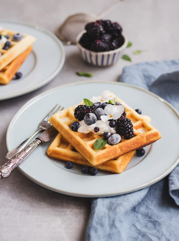 This recipe for healthier Belgian waffles is an easy and healthy option for breakfast or brunch!