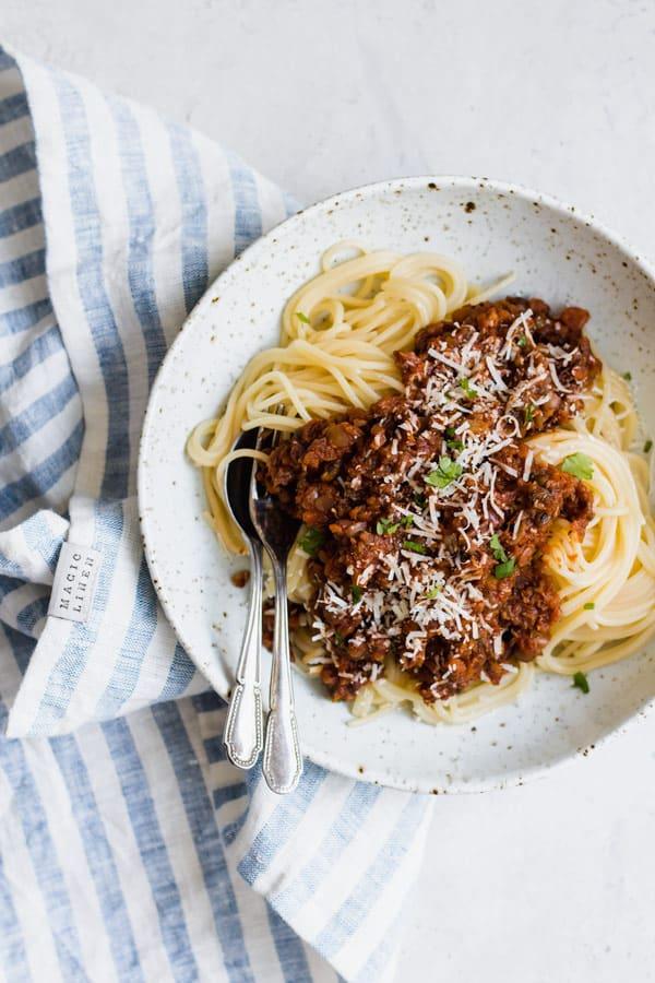 comforting lentil bolognese