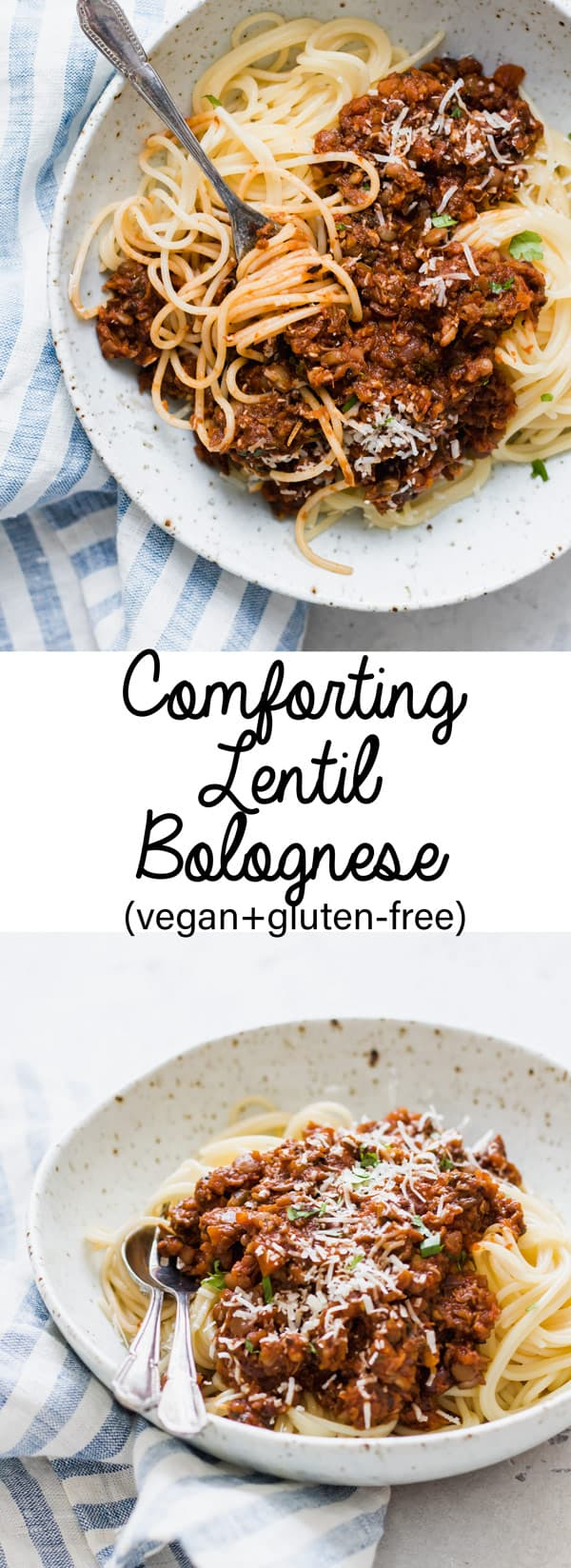 This comforting lentil bolognese is a healthy vegan dish that everyone will love! It's high in protein, and can be served on any pasta you like!