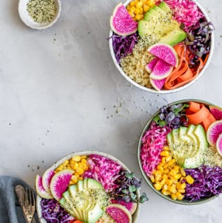 Rainbow nourishment bowls with maple tahini dressing