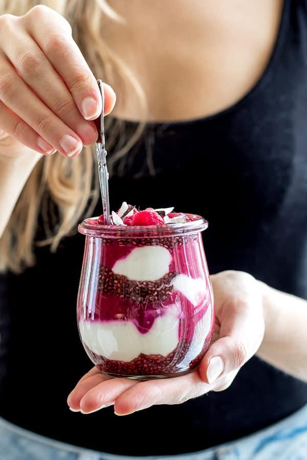 raspberry pomegranate chia pudding parfait