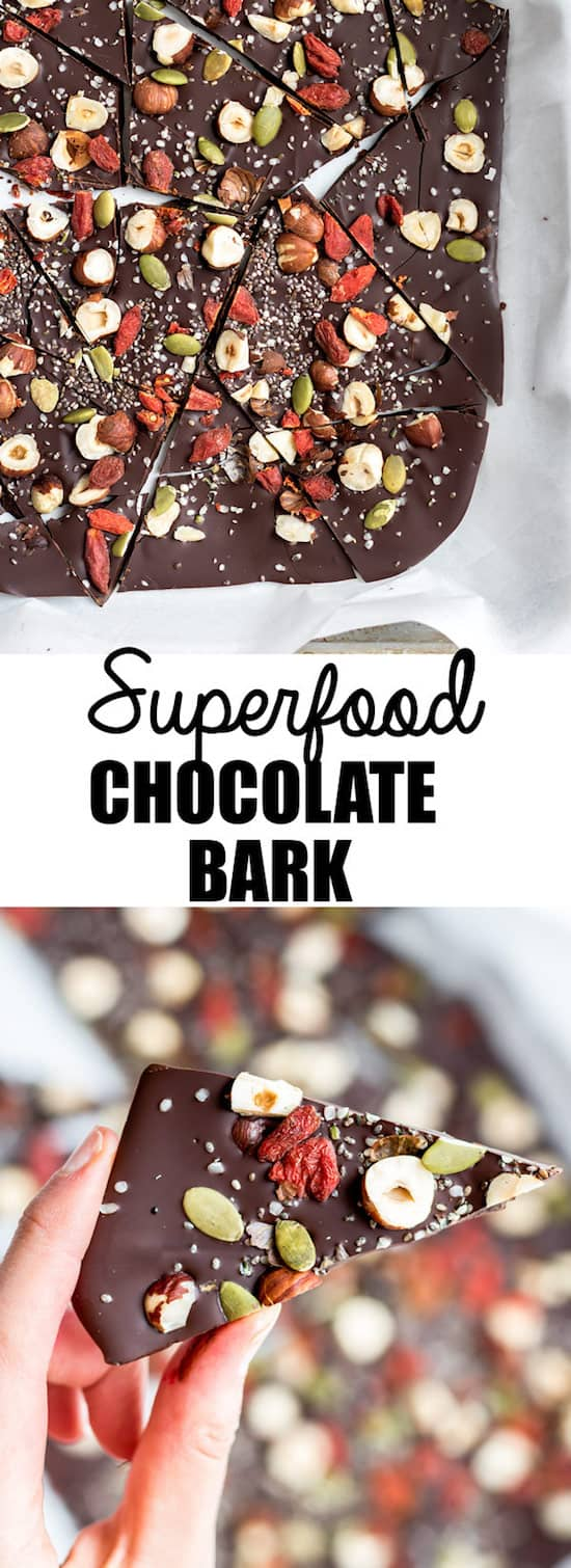 This superfood chocolate bark is loaded with healthy ingredients like goji berries and chia seeds. You won't believe how easy it is to make too!