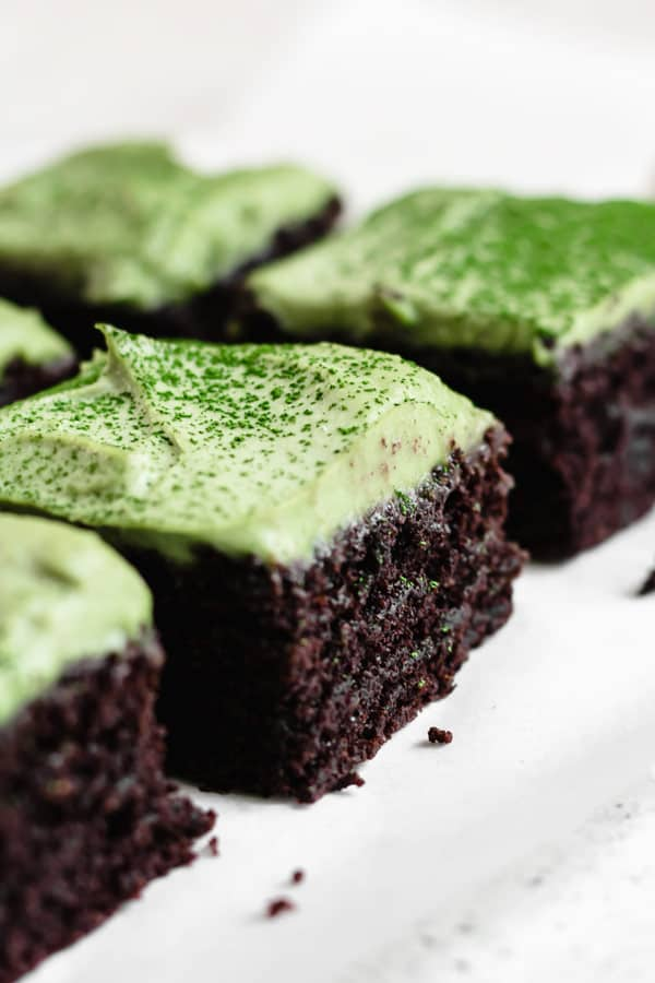 healthy, homemade brownies with matcha mint frosting