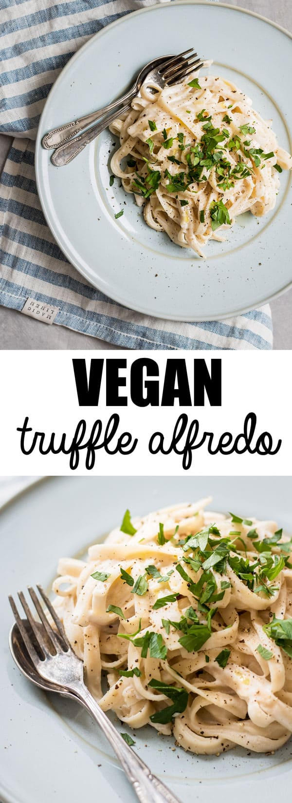This vegan truffle alfredo is easy to make and features cashews as the base of the sauce!