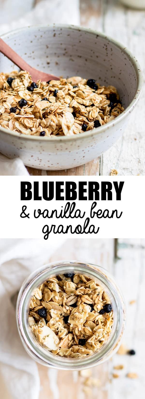 This blueberry, maple & vanilla bean granola is a healthy recipe that is so easy to make and is refined-sugar free!
