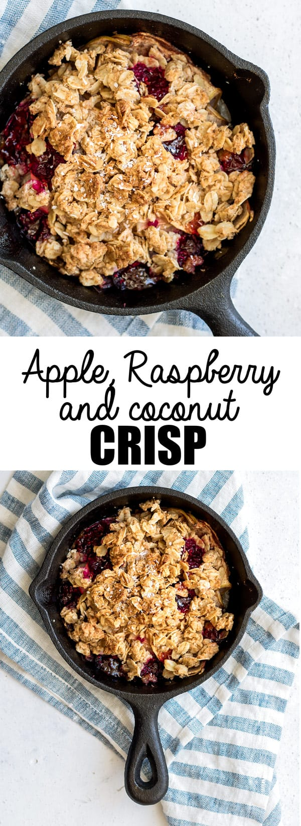 This apple, raspberry+coconut crisp is a healthy crisp that can even be enjoyed for breakfast. Apples get baked up with oozy raspberries then topped with a crumbly topping of oats and shredded coconut!