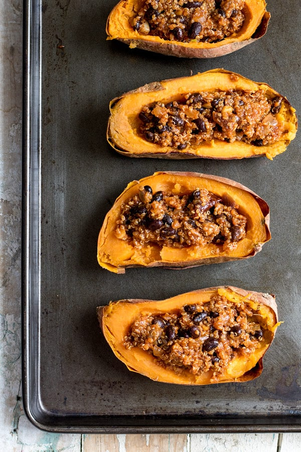 roasted stuffed sweet potatoes with chipotle quinoa