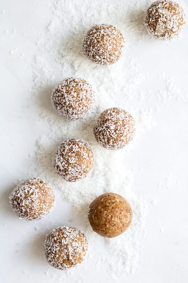 salted caramel coconut bliss balls