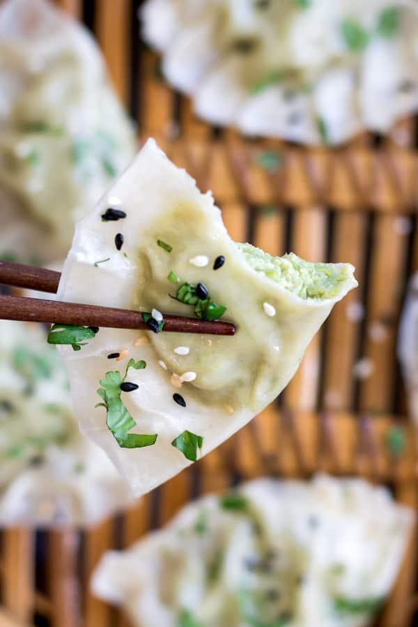 Edamame and truffle dumplings