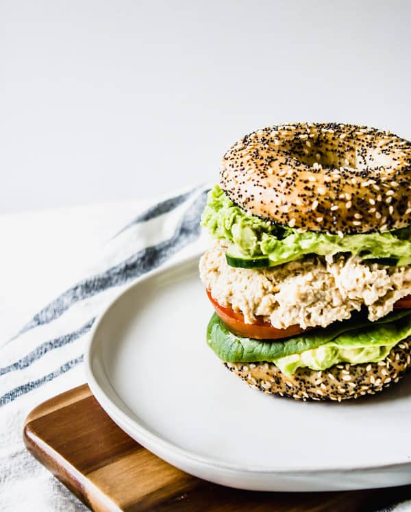 chickpea salad and avocado smash sandwich